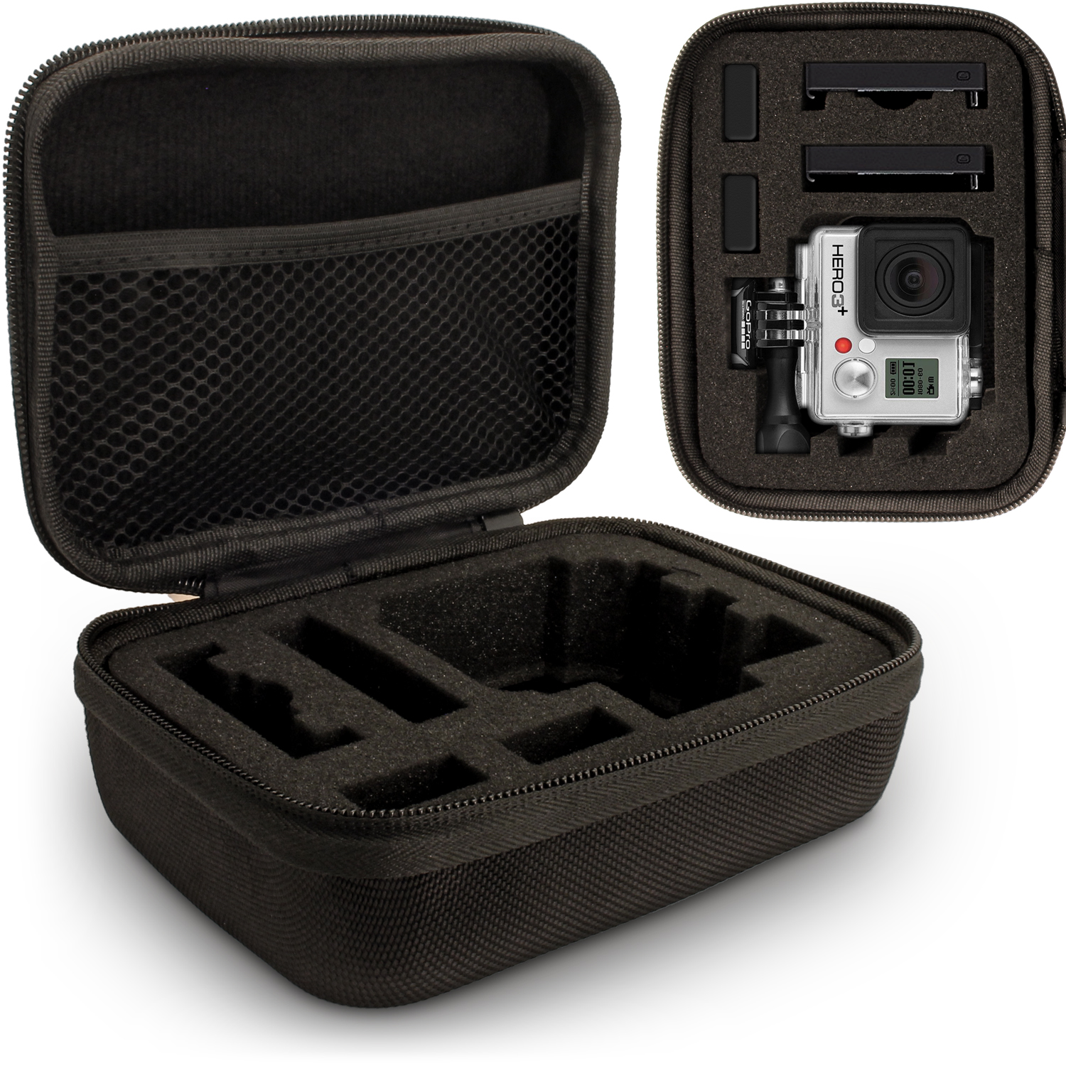 Optix Pro Small EVA Hard Travel Case Cover with Zip Closure & Foam Inserts for  GoPro Hero5 4 3+ 3 2 1 Action Cameras