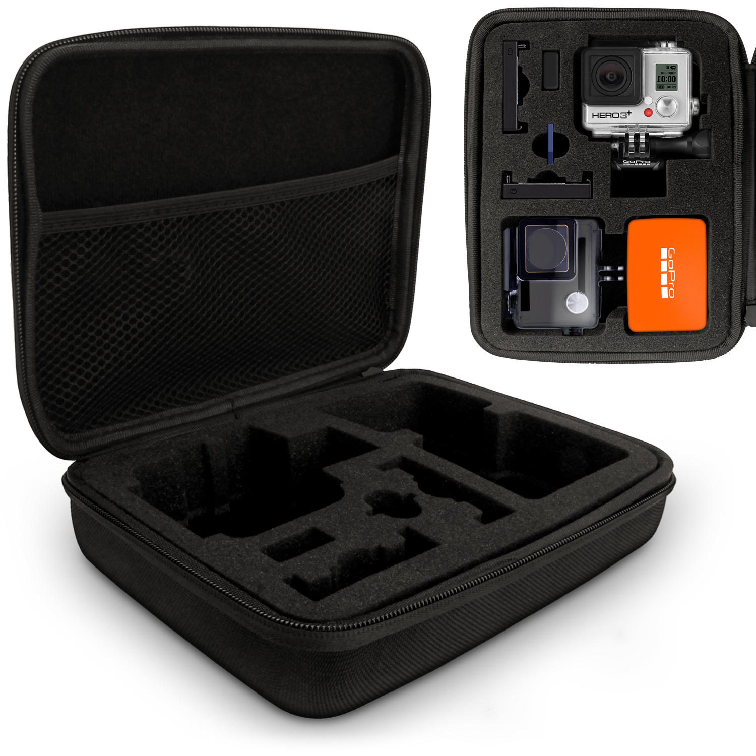 Optix Pro Large EVA Hard Travel Case Cover with Zip Closure & Foam Inserts for  GoPro Hero5 4 3+ 3 2 1 Action Cameras