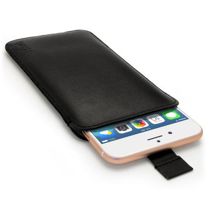 "iGadgitz Premium Pouch Sleeve Black Leather Case Cover for Apple iPhone 8 Plus, 7 Plus, 6S Plus & 6 Plus 5.5"" with Pull Tab Thumbnail 1"