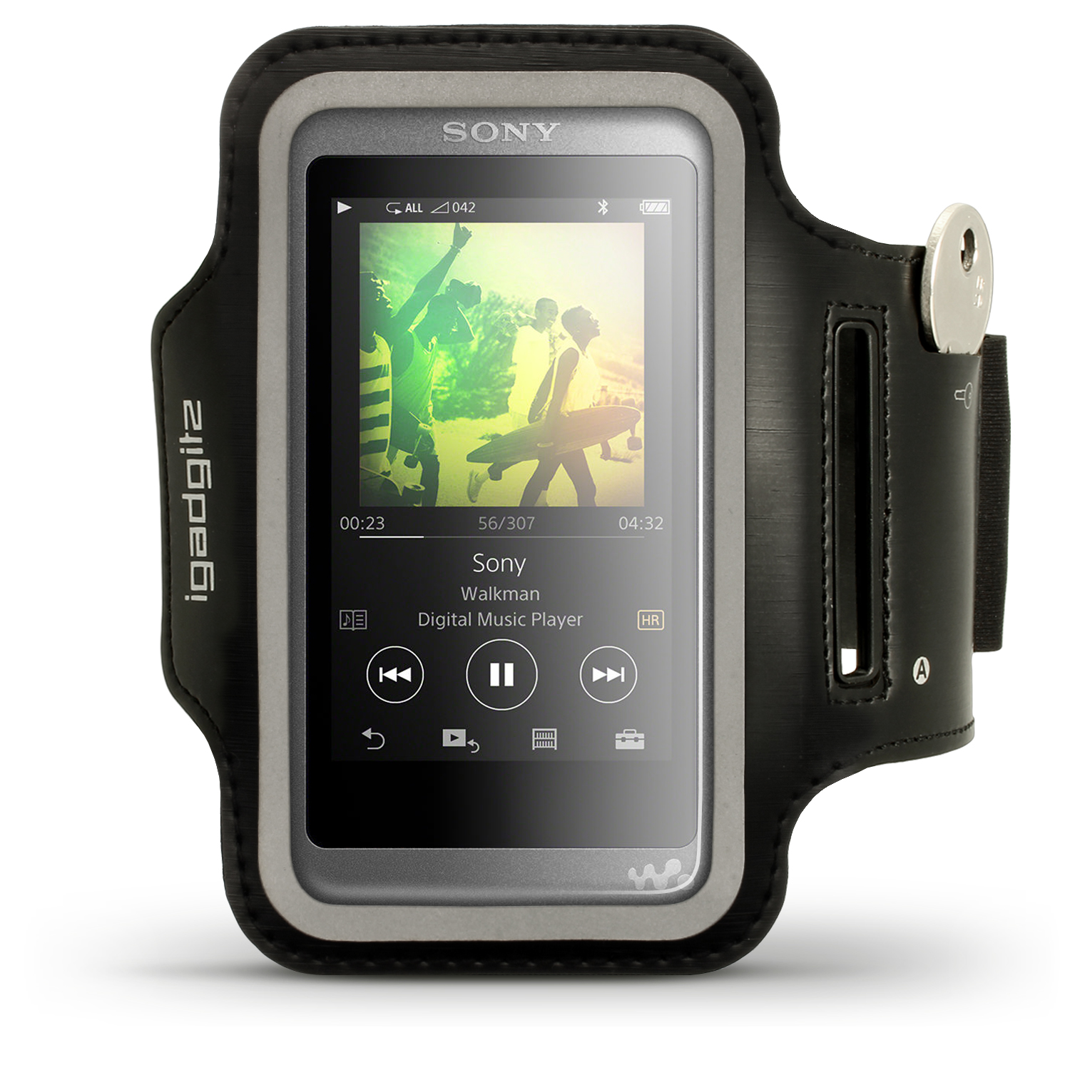 iGadgitz Reflective Black Sports Jogging Gym Armband for Sony Walkman NW-A35 NW-A40 MP3 Player with Key Slot