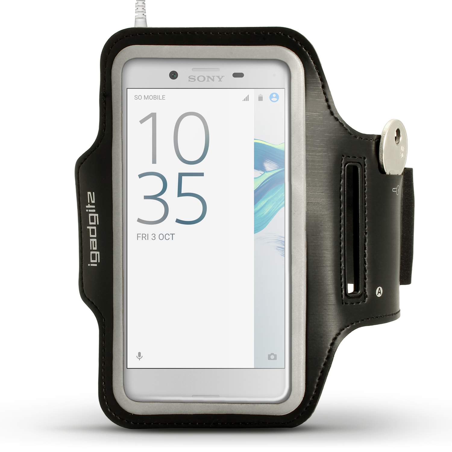 iGadgitz Reflective Black Sports Jogging Gym Armband for Sony Xperia X & XZ1 Compact with Key Slot