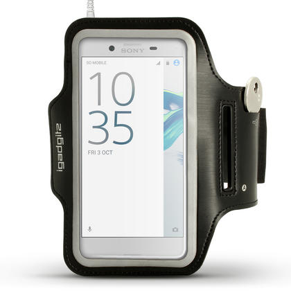 iGadgitz Reflective Black Sports Jogging Gym Armband for Sony Xperia XZ F8331, XZ1 F8342, Dual F8332 + Key Slot Thumbnail 1
