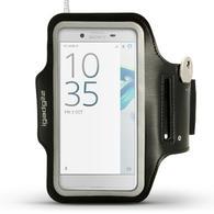 iGadgitz Reflective Black Sports Jogging Gym Armband for Sony Xperia XZ F8331, XZ1 F8342, Dual F8332 + Key Slot