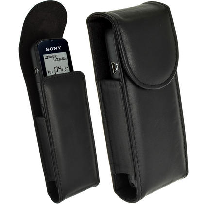 iGadgitz Black Genuine Leather Case Cover for Sony ICDUX533 Digital Voice Recorder Thumbnail 1