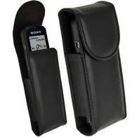 iGadgitz Black Genuine Leather Case Cover for Sony ICDUX533 Digital Voice Recorder