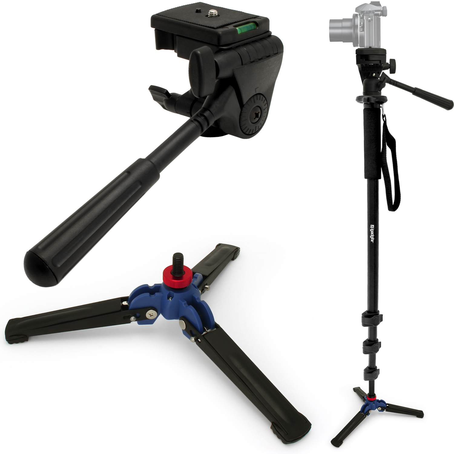 "iGadgitz 3in1 Kit of 160cm (63"") Extendable Aluminium Monopod with 3 Legged Foldable Stand & Tilt Pan Head for Camera"