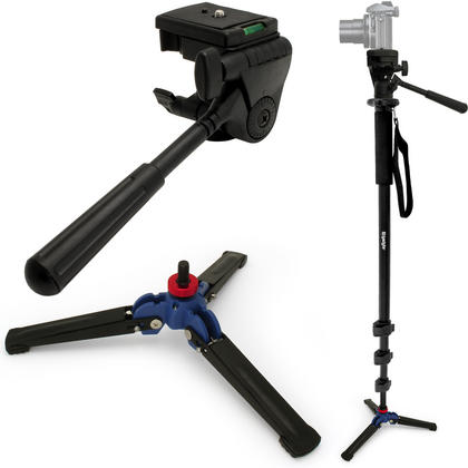 "iGadgitz 3in1 Kit of 160cm (63"") Extendable Aluminium Monopod with 3 Legged Foldable Stand & Tilt Pan Head for Camera Thumbnail 1"