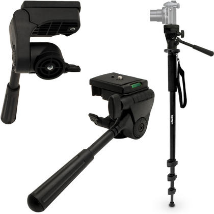 "iGadgitz Kit of 160cm (63"") 4 Section Extendable Aluminium Monopod with Tilt Pan Head for Camera & Camcorder Thumbnail 1"