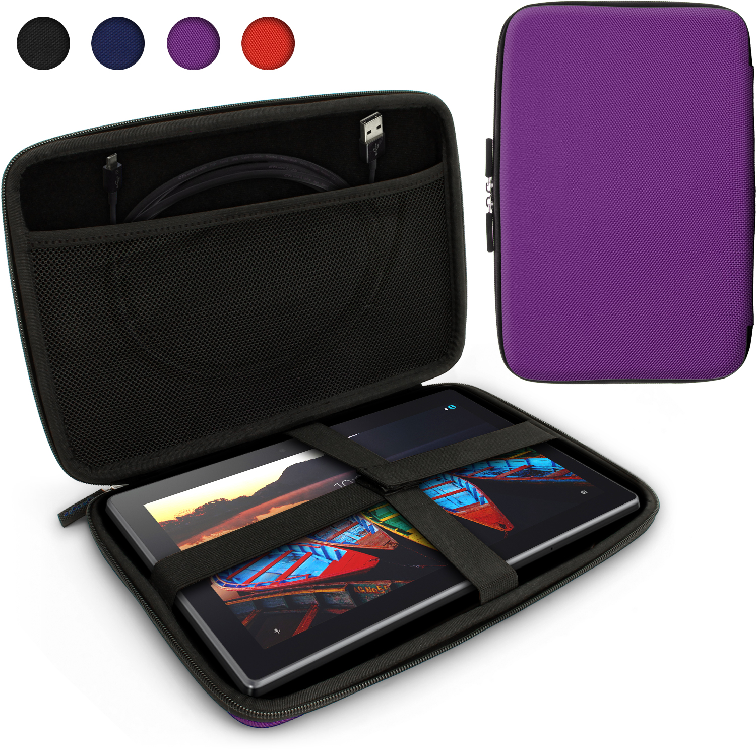 iGadgitz Purple EVA Travel Hard Case Cover for Lenovo Tab 3 10 Business Tablet