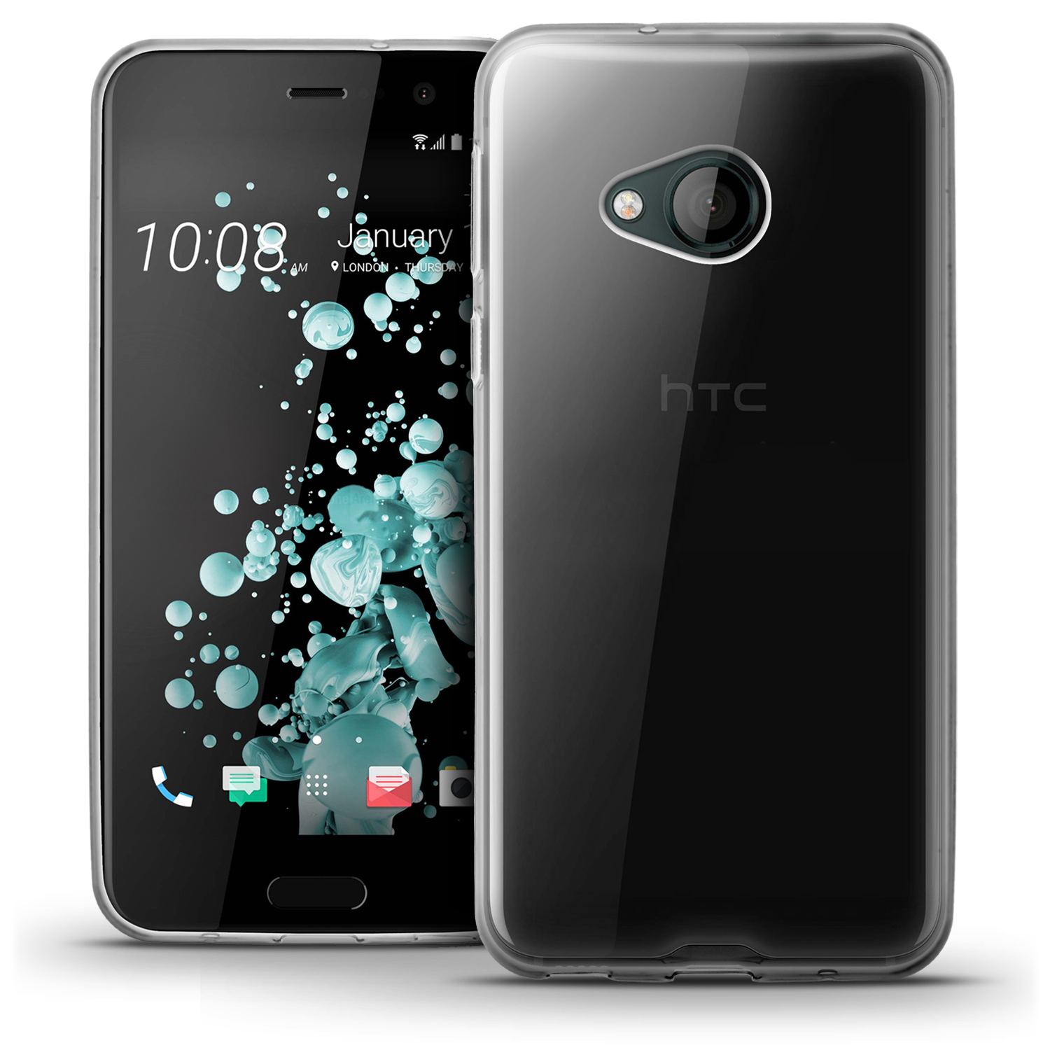 iGadgitz Glossy TPU Gel Skin Case Cover for HTC U Play (2017) + Screen Protector