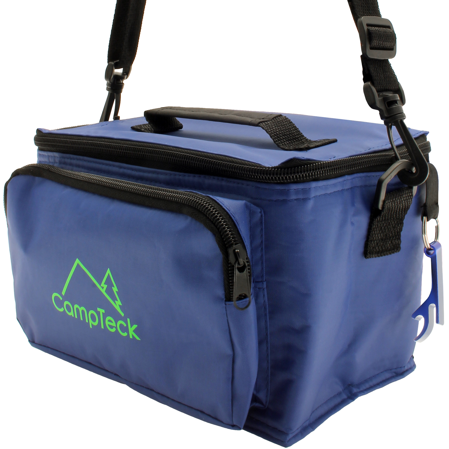 CampTeck Compact & Lightweight Water Resistant 3.5L Leak-Proof Blue Cool Bag with Carry Handle, Strap & Bottle Opener