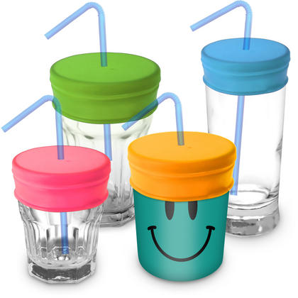 iGadgitz Home Reusable 100% Food Grade BPA Free Soft Silicone Spill-Proof Straw Lids ? 4 Pack (Pink Yellow Green Blue)