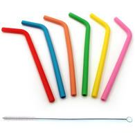 iGadgitz Home Reusable 100% Food Grade BPA Free Soft Silicone Travel Drinking Straws + Metal Cleaning Brush ? Set of 6