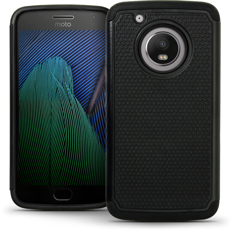 iGadgitz Hard PC Back Shell Cover & Silicone Case for Motorola Moto 5th Generation Plus (Moto G5 Plus) + Screen Prot