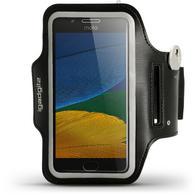 iGadgitz Reflective Black Sports Jogging Gym Armband for Motorola Moto 5th Generation (Lenovo Moto G5) with Key Slot