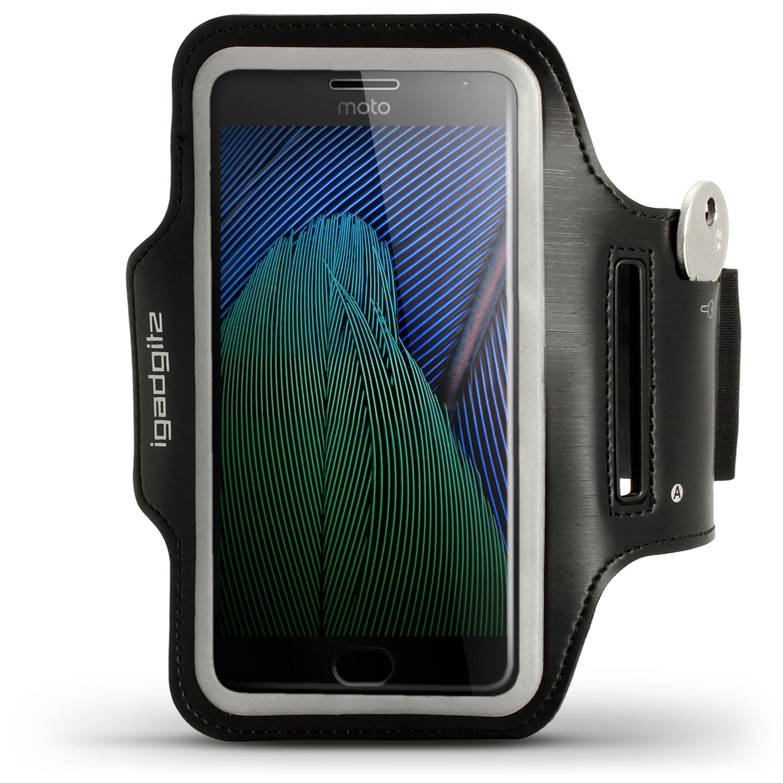 iGadgitz Reflective Black Sports Jogging Gym Armband for Motorola Moto 5th Gen Plus (Lenovo Moto G5 Plus) + Key Slot