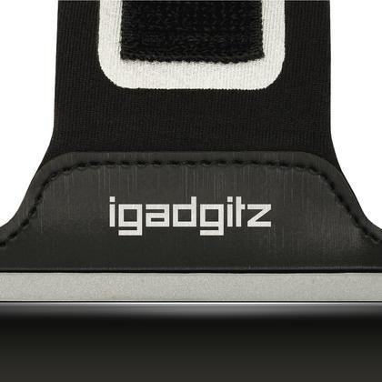 iGadgitz Reflective Black Sports Jogging Gym Armband for Motorola Moto 5th Gen Plus (Lenovo Moto G5 Plus) + Key Slot Thumbnail 3