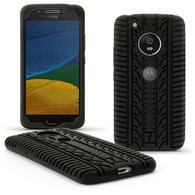 iGadgitz Black Tyre Silicone Rubber Gel Skin Case Cover for Motorola Moto 5th Gen(Lenovo Moto G5) + Screen Protector