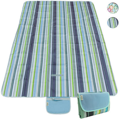 CampTeck 200 x 145cm Folding Picnic Blanket Waterproof Backing Travel Picnic Rug for Outdoors Beach Camping with Handle Thumbnail 1