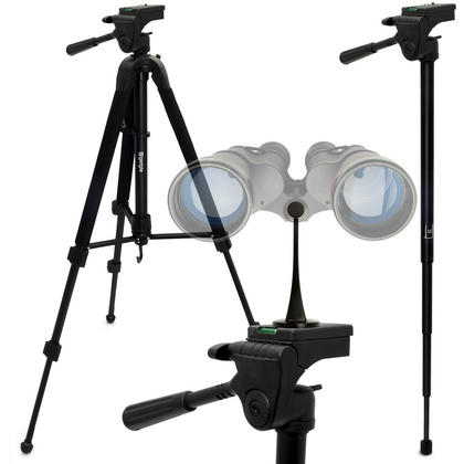 "iGadgitz 2 in 1 Kit  150cm (59"") 2 in 1 Combined Aluminium Tripod and Monopod with Binocular Metal Adapter 1/4"" Thread Thumbnail 1"