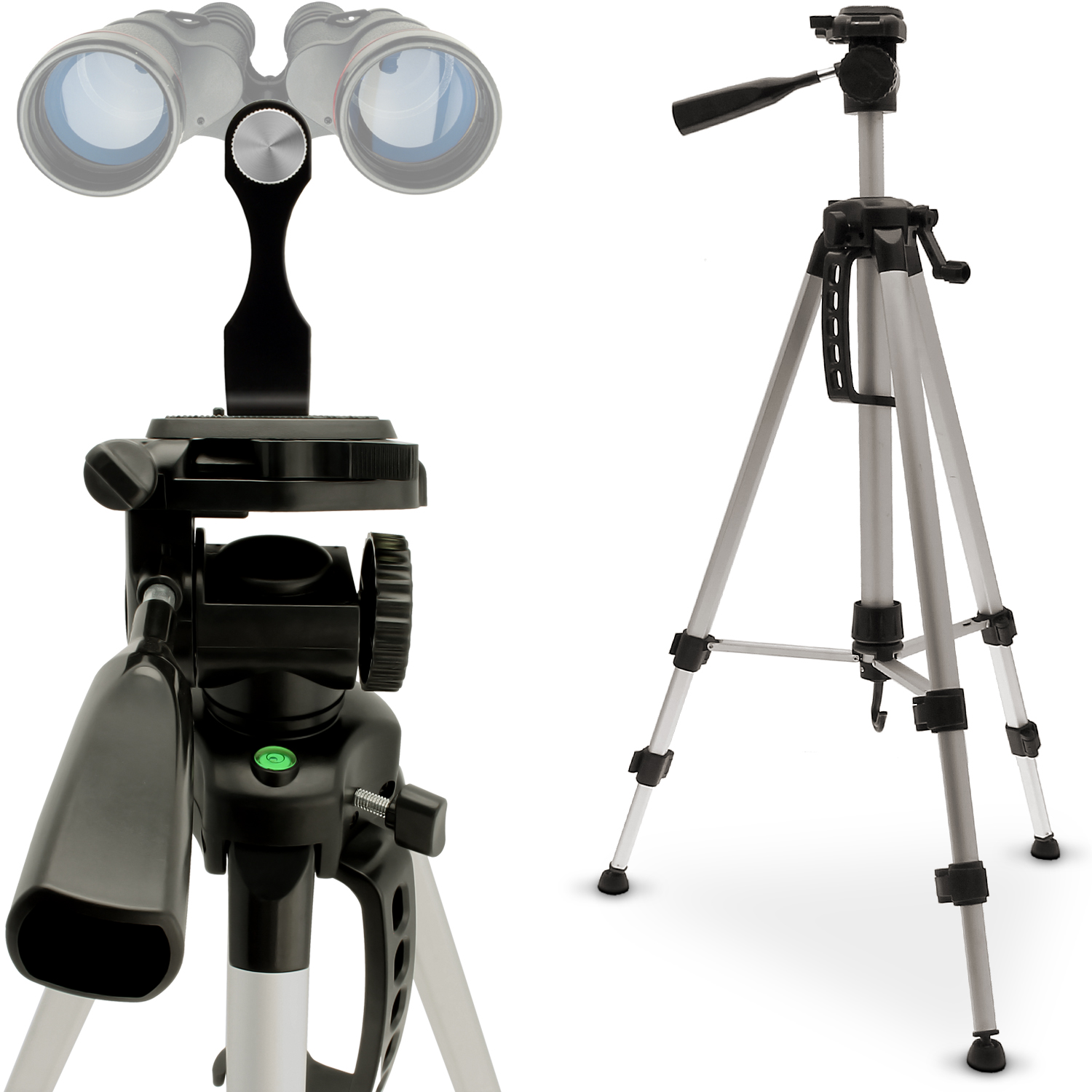 "iGadgitz 2 in 1 Kit 140cm (55?) Silver 3 Section Extendable Aluminium Tripod with 1/4"" Binocular Metal Adapter Mount"
