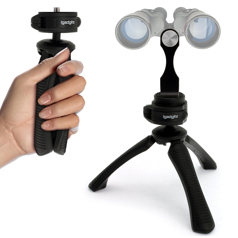 "iGadgitz 2 in 1 Kit Mini Lightweight Table Top Stand Tripod Grip Stabilizer + Binocular Metal Adapter 1/4"" Screw Thread"