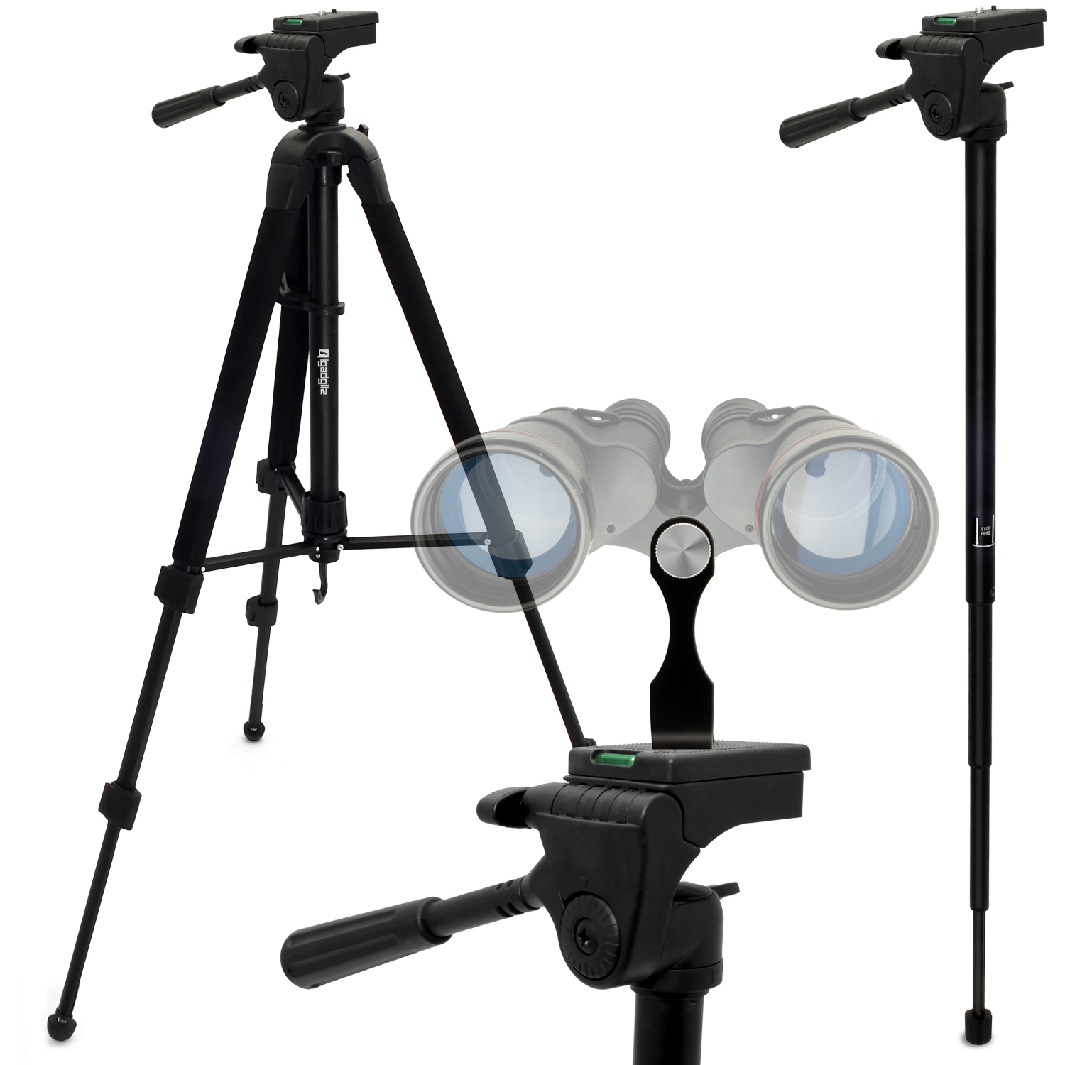 "iGadgitz 2 in 1 Kit  150cm (59"") 2 in 1 Combined Aluminium Tripod and Monopod with Binocular Metal Adapter 1/4"" Thread"