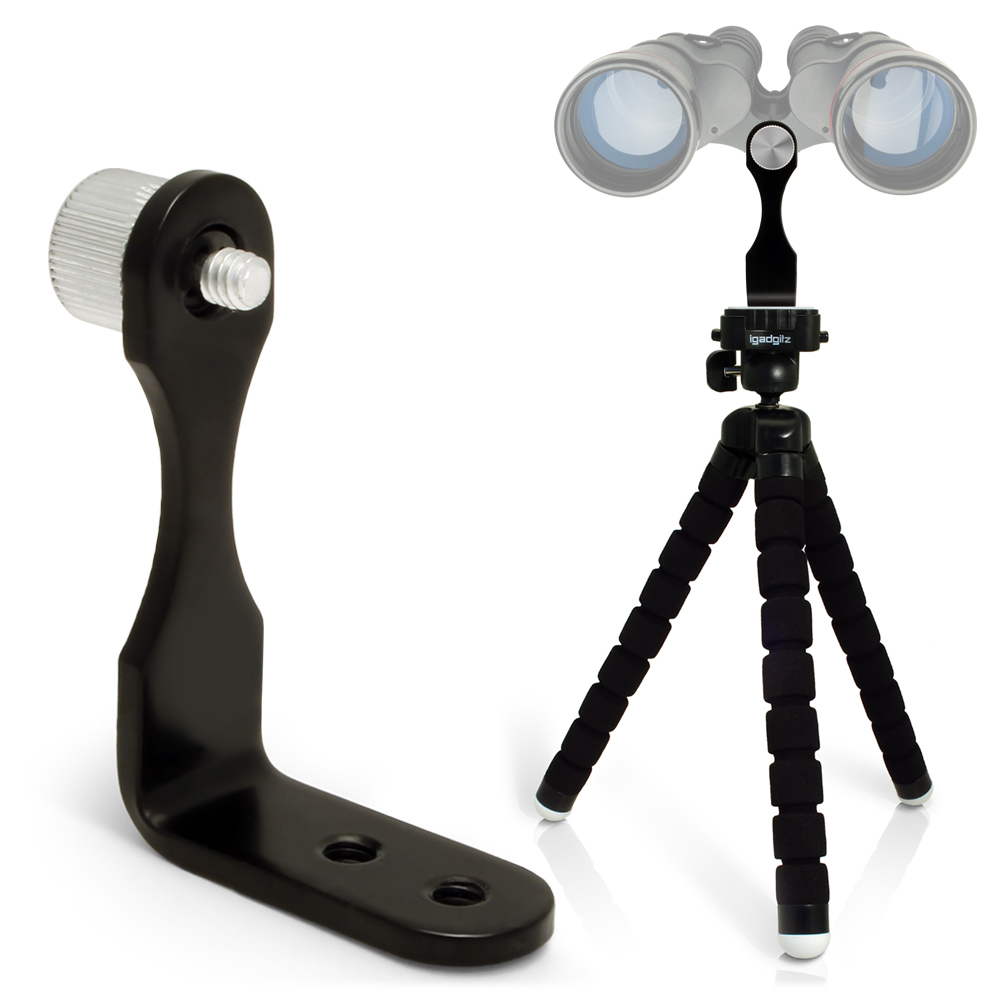 iGadgitz 2 in 1 Kit Lightweight Large Flexible Foam Mini Tripod with Binocular Metal Adapter Mount with 1/4 Inch Thread
