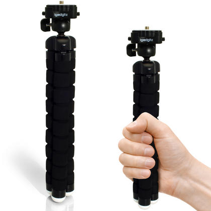 iGadgitz 2 in 1 Kit Lightweight Large Flexible Foam Mini Tripod with Binocular Metal Adapter Mount with 1/4 Inch Thread Thumbnail 4