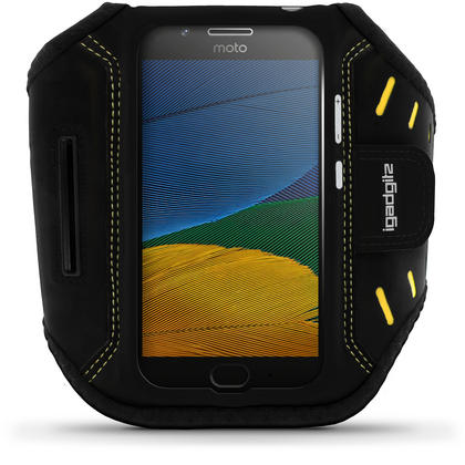 iGadgitz Black Water Resistant Lightweight Neoprene Sports Jogging Gym Armband for Motorola Moto 5th Generation (2017) Thumbnail 1
