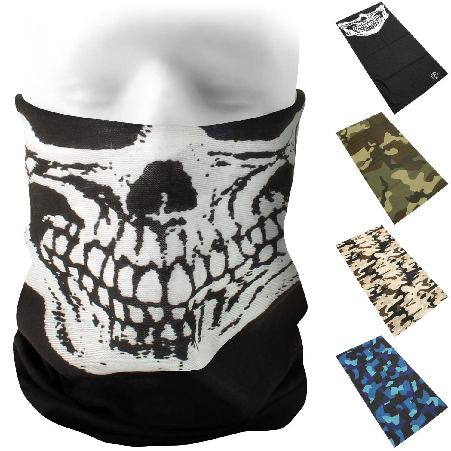 CampTeck Multi-Purpose Seamless Bandana Camo Skull Print Tube Face Mask Balaclava for Motorcycling Hiking Riding Cycling