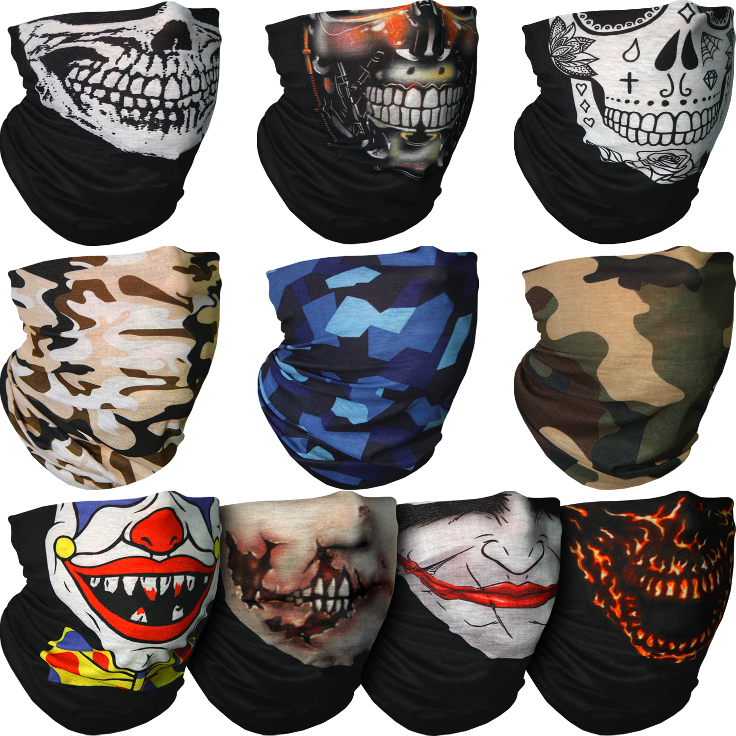 Hiking Cycling and other Outdoor Use Riding CampTeck Breathable Multi-Purpose Seamless Bandana Camo Skull Joker Clown Endoskeleton Zombie Print Tube Face Mask Balaclava Headband for Motorcycling