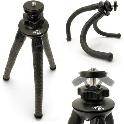 iGadgitz Large Ultra Flexible Tripod Stand for DSLR SLR Cameras with 360? Rotating Ballhead - Black Thumbnail 1
