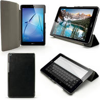 iGadgitz Black PU Leather Smart Cover Case for Huawei MediaPad T3 8'' with Stand + Auto Sleep/Wake + Screen Protector