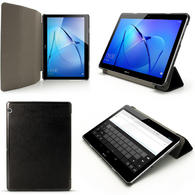 iGadgitz Black PU Leather Smart Cover Case for Huawei MediaPad T3 10'' with Stand + Auto Sleep/Wake + Screen Protector
