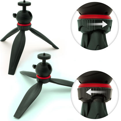 iGadgitz Lightweight Mini Table Top Tripod Stand for Digital Compact, DSLR SLR Cameras with Removable Ballhead ? Black Thumbnail 4