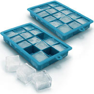 iGadgitz Home Silicone Ice Cube Tray 15 Square Food Grade Ice Cube Moulds ? Pack of 2