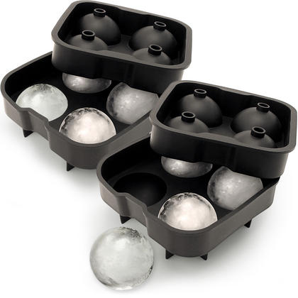 iGadgitz Home Silicone Ice Ball Mould 4x4.5cm Sphere Ice Rounds Ball Maker for Cocktail, Whiskey & Other Drink ?  2x Thumbnail 1