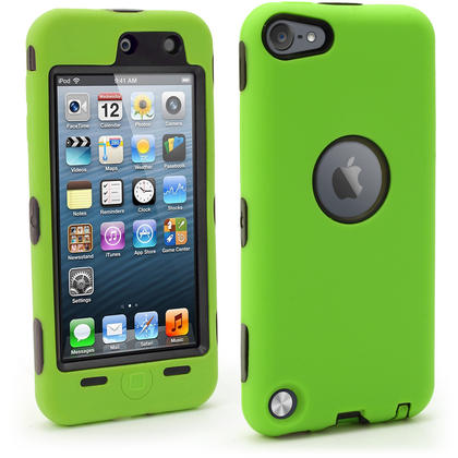 iGadgitz Armour Hard Shell & Silicone Bumper Case with Built-In Screen for Apple iPod Touch 5th & 6th Gen? Green & Black Thumbnail 1