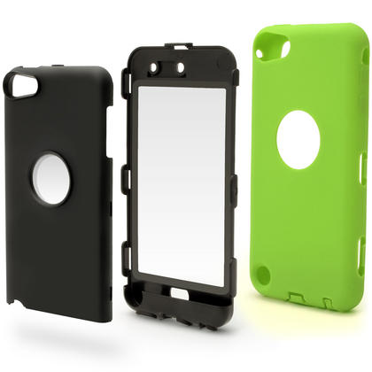 iGadgitz Armour Hard Shell & Silicone Bumper Case with Built-In Screen for Apple iPod Touch 5th & 6th Gen? Green & Black Thumbnail 2