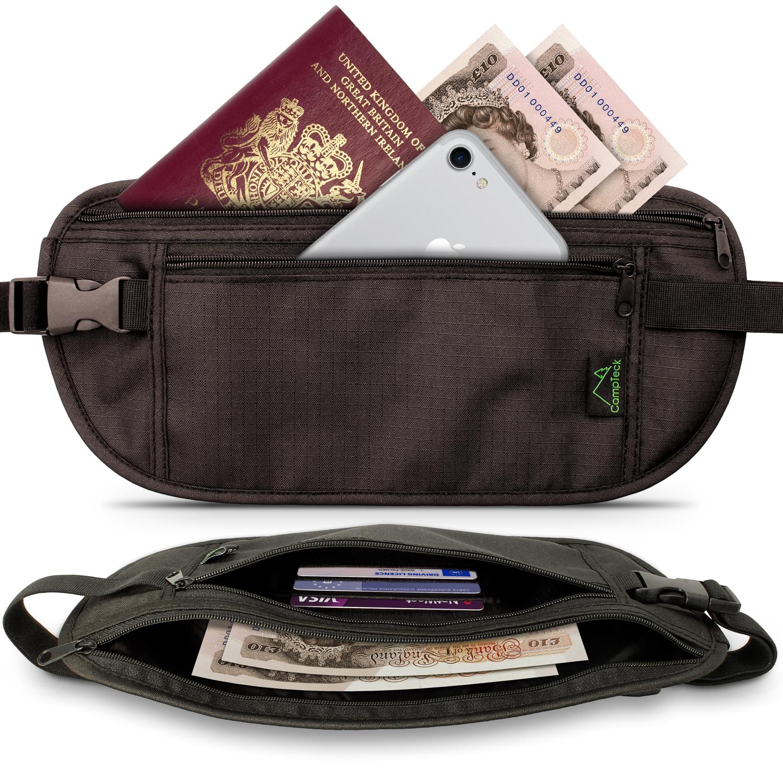 CampTeck RFID Hidden Money Belt Travel Pouch Wallet for Cash, Passport, Debit & Credit Cards, Smartphone etc ? Black