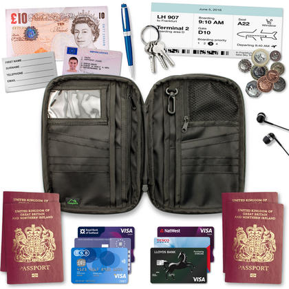 CampTeck Travel Wallet Passport Holder & RFID Organiser for Cards, IDs, Documents, Money, Ticket, Key, Smartphone Thumbnail 4