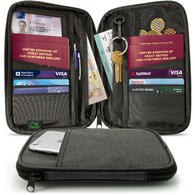CampTeck Travel Wallet Passport Holder & RFID Organiser for Cards, IDs, Documents, Money, Ticket, Key, Smartphone