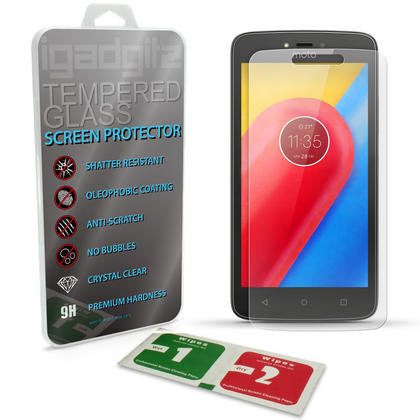 iGadgitz Tempered Glass Screen Protector for Motorola Moto C Plus 2017 (Lenovo C Plus 2017) Shatterproof 9H Anti Scratch Thumbnail 1
