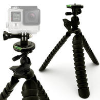 Optix Pro 11-Inch Large Flexible Tripod Stand for DSLR SLR Cameras + Action Camera Adaptor Mount with Thumb Screw & Nut