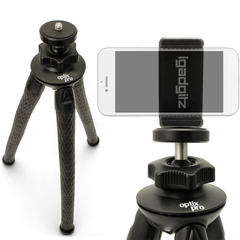 iGadgitz Large Ultra Flexible Tripod Stand for DSLR SLR Cameras + Universal Smartphone Holder Mount Bracket Adapter