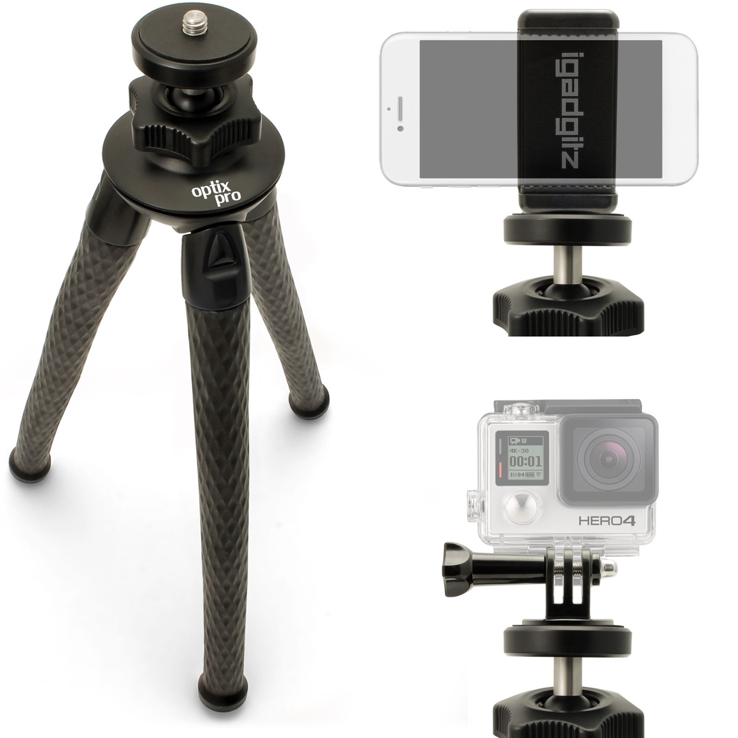 iGadgitz Large Ultra Flexible Tripod Stand, Smartphone Holder Bracket, Thumb Screw + Nut Adaptor for DSLR Action Cameras