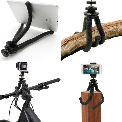iGadgitz Large Ultra Flexible Tripod Stand, Smartphone Holder Bracket, Thumb Screw + Nut Adaptor for DSLR Action Cameras Thumbnail 4