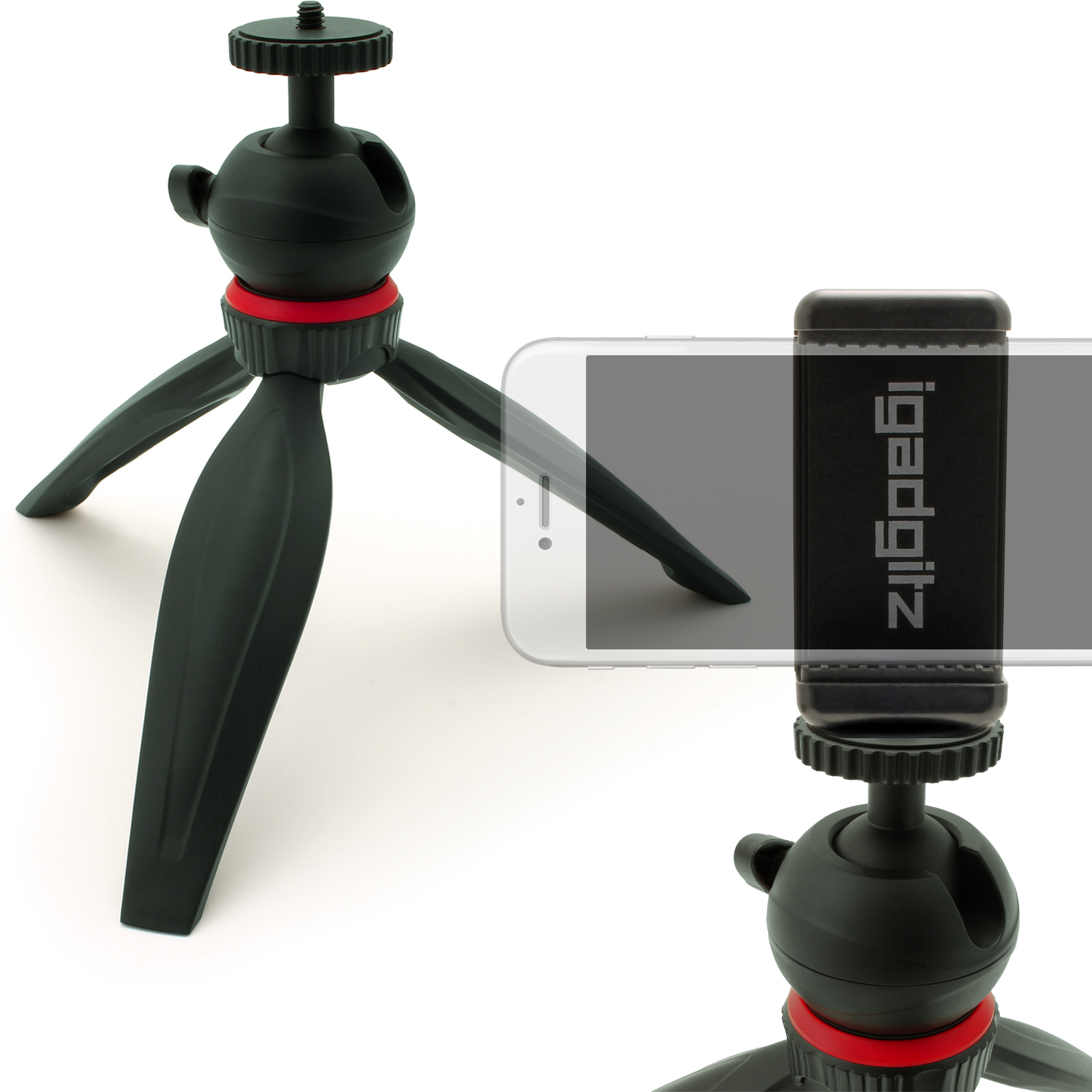 iGadgitz Lightweight Mini Table Top Tripod Stand with Smartphone Holder Mount Bracket Adapter - Black
