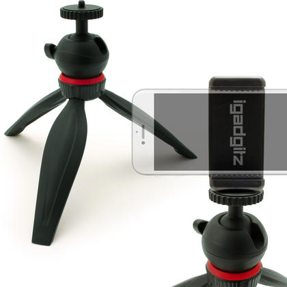iGadgitz Lightweight Mini Table Top Tripod Stand with Smartphone Holder Mount Bracket Adapter - Black Thumbnail 1